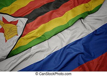 colorito, ondeggiare, zimbabwe., bandiera russia, nazionale