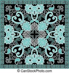 colorito, ornamentale, etnico, linee, fiori, eleganza, frame., pattern., greco, floreale, vettore, astratto, chiave, paisley, seamless, ripetere, vendemmia, geometrico, sfondo., fondo., quadrato, meanders, tribale