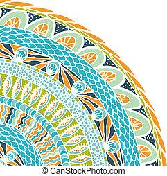 colorito, ornamento, fondo., vettore, mosaico, rotondo,...