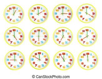 colorito, orologio, di, dodici, stile, in, dire, time.