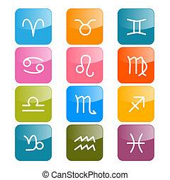 colorito, oroscopo, simboli, vettore, rettangolo, zodiaco