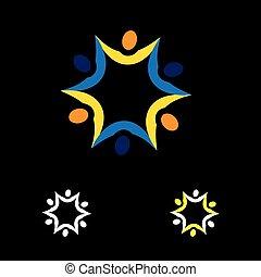 colorito, persone, astratto, insieme, vettore, collegato, logotipo, icona