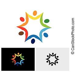 colorito, persone, astratto, vettore, collegato, insieme., logotipo, icona
