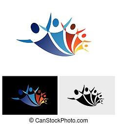colorito, persone, essendo, positivo, insieme, vettore, icona, felice