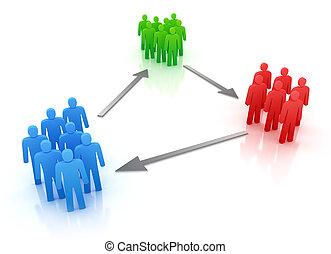 colorito, persone, gruppi, con, frecce