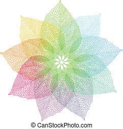 colorito, primavera, foglie, vettore