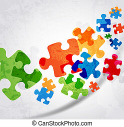 colorito, puzzle, forma, vettore, disegno, astratto