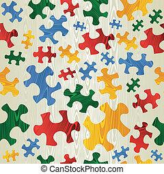 colorito, puzzle, seamless, modello, in, tessuto legno