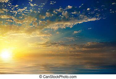 colorito, raggi, nubi, tramonto