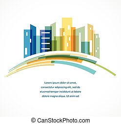 colorito, reale, fondo, orizzonte, città, proprietà