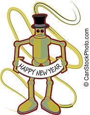 colorito, robot, segno, presa a terra, anno, nuovo, felice