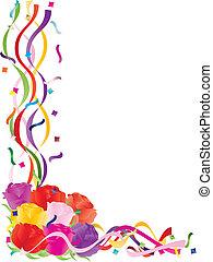 colorito, rose, in, coriandoli, bordo, illustrazione