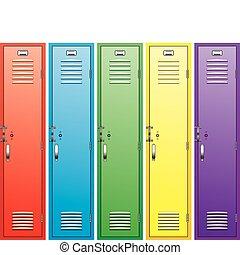 colorito, scuola, armadietti