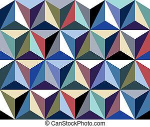 colorito, seamless, modello, fondo., vettore, triangoli, 3d