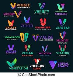 colorito, segni, icone, lettera, v, identità aziendale
