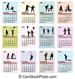 colorito, silhouette, 2020, calendario, bambini