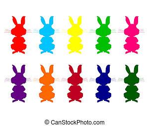 colorito, silhouette, di, conigli