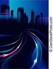 colorito, silhouette, skyline., strada, fondo, fondo., night., costruzioni, vettore, città, piste, luce, scuro, cityscape, grande, offuscamento, effetto, bello