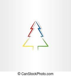 colorito, simbolo, albero, vettore, disegno, natale, icona