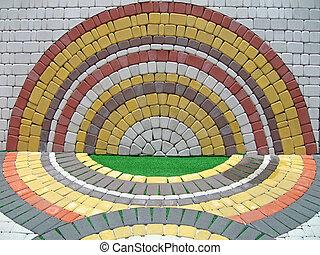 colorito, simmetria, parete, costruzione, dettagli, mattone, rotondo