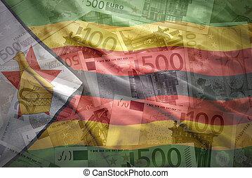 colorito, soldi, bandierina ondeggiamento, zimbabwean, fondo, euro