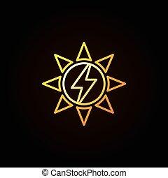 colorito, sole, energia, solare, o, icona