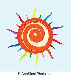 colorito, sole, icona