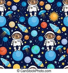 colorito, spazio, modello, cane, astronauti, seamless, cartone animato