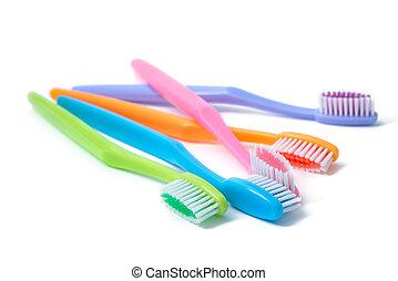 colorito, spazzolini denti, isolato, bianco