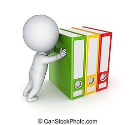 colorito, spinta, persona, folders., piccolo, 3d
