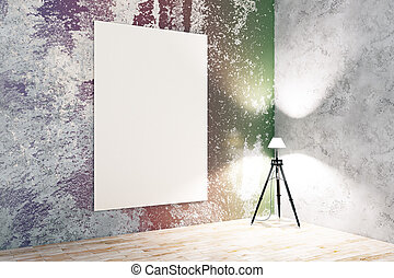 colorito, stanza, con, vuoto, manifesto