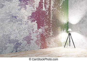 colorito, stanza, con, vuoto, parete