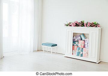 colorito, stanza, fiori bianchi, caminetto, regali