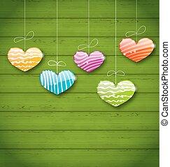colorito, struttura legno, valentina, verde, appendere, cuori, giorno