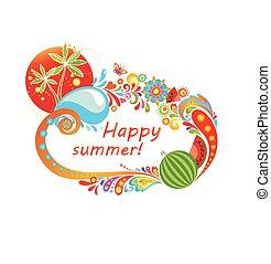 colorito, summery, cornice, con, anguria, e, palme