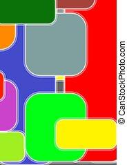 colorito, testo, astratto, sagoma, rectangles., arrotondato