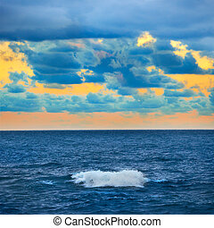 colorito, tramonto, sopra, grande onda