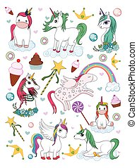 colorito, trendy, fata, illustrazione, elemento, unicorno, invito, vettore, racconto, scheda compleanno