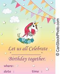 colorito, trendy, fata, sagoma, illustrazione, unicorno, fondo, invito, vettore, racconto, scheda compleanno