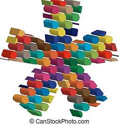 colorito, tridimensionale, simbolo
