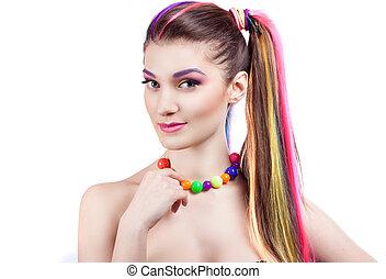 colorito, trucco, accessori, luminoso, ritratto, ragazza
