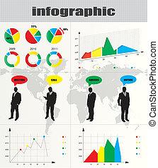 colorito, uomo affari, collezione, infographic, silhouette