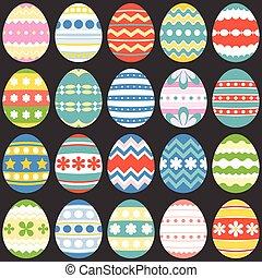 colorito, uova pasqua, appartamento, disegno, set, 3