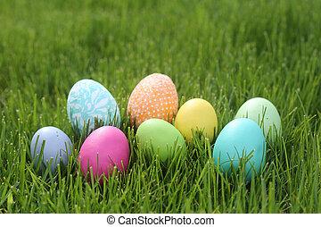 colorito, uova pasqua, natura morta, con, luce naturale