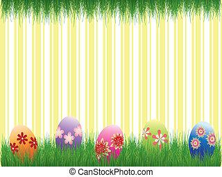 colorito, uova, striscia gialla, fondo, vacanza, pasqua
