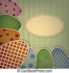 colorito, uova, tovagliolo, augurio, vettore,  retro, merletto, pasqua, Scheda