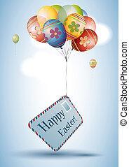 colorito, uovo di pasqua, stile, palloni, con, cartolina