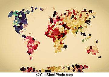 colorito, vendemmia, map., poly, basso, mondo