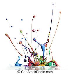colorito, vernice, gli spruzzi, isolato, bianco