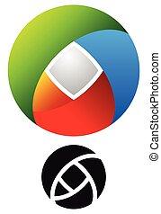 colorito, versione, concetti, logotipo, tecnologia, contorno, circolare